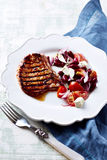 Grilled Pork with Kidney Bean Salad Stock Images