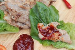 Grilled pork korean food with chilli sauce. Stock Image