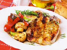 Grilled pork loin chops stock photo