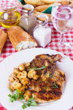 Grilled pork loin chops. Served an white plate with mushrooms Stock Photos
