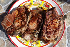 Grilled pork loin chops Stock Images
