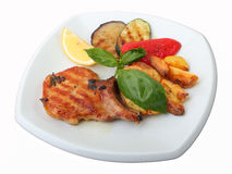 Grilled pork loin with vegetables Stock Image