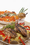 Grilled pork with mash potato and vegetable salad. belarussian n Royalty Free Stock Photos