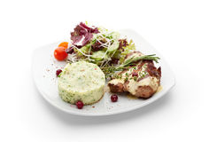 Grilled Pork. With Mashed Potato and Raw Vegetables Stock Photos