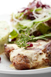 Grilled Pork. With Mashed Potato and Raw Vegetables Stock Photography