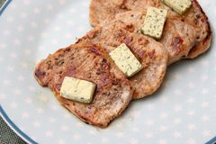 Grilled pork meat with butter royalty free stock photos