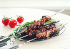 Grilled pork meat. On the plate, pork barbecue royalty free stock image