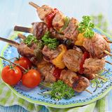 Grilled pork meat and vegetable kebabs Stock Photography