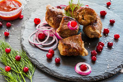 Grilled pork meet (shashlik) on black stone background. Fresh onion, cranberries and dill Royalty Free Stock Photos