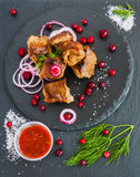 Grilled pork meet (shashlik) on black stone background. Fresh onion, cranberries and dill Royalty Free Stock Photo