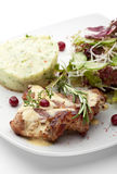 Grilled Pork. With Mushed Potato and Raw Vegetables Stock Images