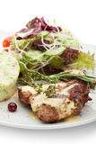 Grilled Pork. With Mushed Potato and Raw Vegetables Royalty Free Stock Images