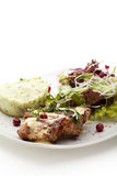 Grilled Pork. With Mushed Potato and Raw Vegetables Stock Photography