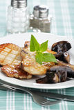 Grilled pork with mushrooms Stock Photo