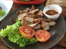 Grilled pork neck or Ko Mu Yang In Thailand. Another famous dish that you could enjoy together with green papaya salad or somtum Royalty Free Stock Photo