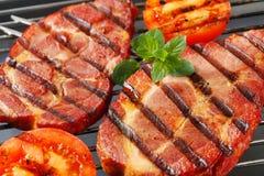 Grilled pork neck steaks Royalty Free Stock Images