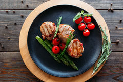 Grilled pork with organic vegetables Royalty Free Stock Photo