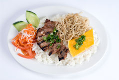 Grilled Pork Over Rice Stock Photography