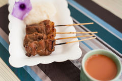 Grilled Pork, Pork Steak, Barbecue Pork With Rice And Hot Milk T Royalty Free Stock Image