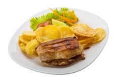 Grilled pork with potato Stock Image