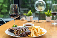 Grilled Pork Rib Dining Table Stock Photo
