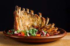 Grilled Pork Rib Meat on Top of clay plate-2. royalty free stock photos