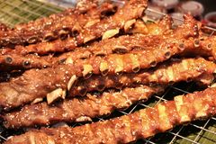 Grilled pork ribs. On the grill Stock Image