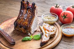 Grilled pork ribs. In barbecue sauce Royalty Free Stock Image
