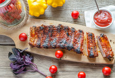 Grilled pork ribs in barbecue sauce Stock Photography