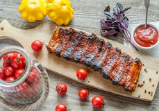 Grilled pork ribs in barbecue sauce Stock Photos