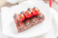 Grilled pork ribs in barbecue sauce Royalty Free Stock Photography