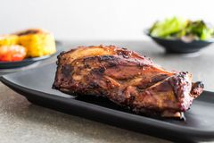 Grilled pork ribs. With barbrcue sauce and vegetable Stock Photos