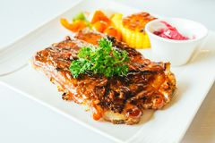 Grilled pork ribs with bbq sauce Stock Photography