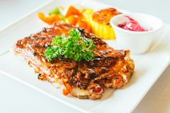 Grilled pork ribs with bbq sauce Stock Images