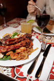 Grilled pork ribs, beef and shrimps Royalty Free Stock Photos