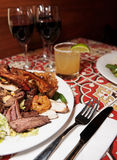 Grilled pork ribs, beef and shrimps, close-up Stock Photo