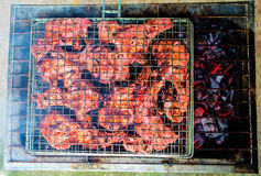 Grilled pork ribs with fire and coals. Summer outdoor barbecue top view photo. Royalty Free Stock Photography