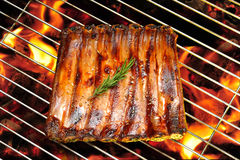 Grilled pork ribs. On the flaming grill Royalty Free Stock Image