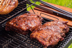 Grilled pork ribs on the grill. Royalty Free Stock Photos