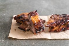 Grilled pork ribs. With barbrcue sauce Stock Images