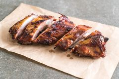 Grilled pork ribs. With barbrcue sauce Royalty Free Stock Photos