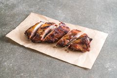 Grilled pork ribs. With barbrcue sauce Royalty Free Stock Photo