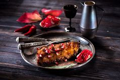 Grilled pork ribs. Hot pepper and wine in a metal jug Stock Images