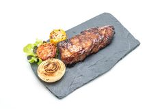 Grilled pork ribs. Isolated on white background Royalty Free Stock Image