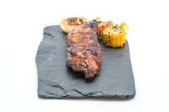Grilled pork ribs. On white background Royalty Free Stock Images