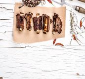 Grilled pork ribs with herbs top view Royalty Free Stock Photography