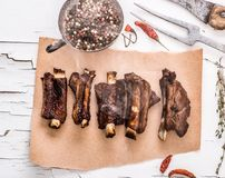 Grilled pork ribs with herbs top view Stock Image