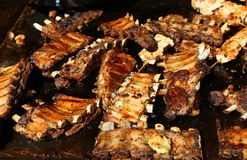 Grilled pork ribs. On the hot tray Royalty Free Stock Image