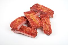 Grilled pork ribs isolated on white background.  Stock Photos