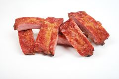Grilled pork ribs isolated on white background.  Royalty Free Stock Photo